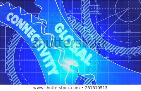 Globális konnektivitás fogaskerekek terv stílus mechanizmus Stock fotó © tashatuvango