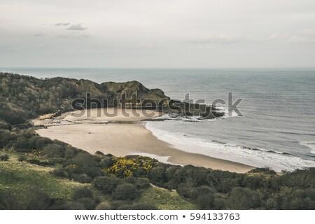 Groot-brittannië luchtfoto strand klif stad Stockfoto © CaptureLight