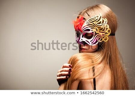 Foto stock: Retrato · mujer · carnaval · máscara · elegante · triste