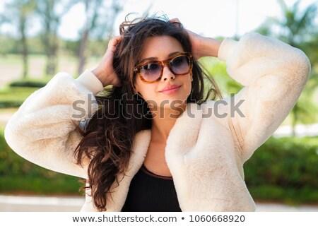 модный · женщину · шуба · студию · рождественская · елка - Сток-фото © konradbak