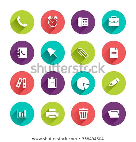 flat office paper pin circle icon with long shadow stock photo © anna_leni