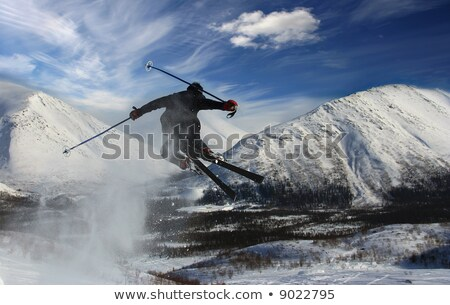 skier jumps from a springboard  Stock photo © OleksandrO