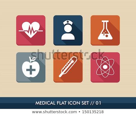 flat health and medicine squared app icons set stock photo © anna_leni