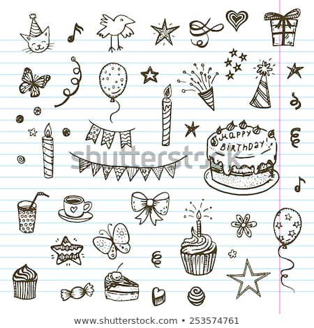 set of sketch party objects hand-drawn Stock photo © netkov1