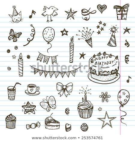 funny · torta · masculina · vector · Cartoon · fiesta - foto stock © netkov1