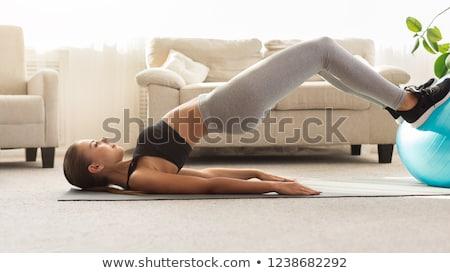 Pilates kadın jimnastik köprü egzersiz antreman Stok fotoğraf © lunamarina