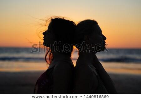 Közelkép leszbikus pár Thaiföld tengerpart emberek Stock fotó © dolgachov