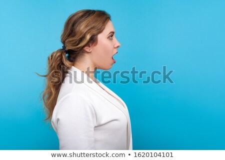 Profil fiatal nő lófarok fehér lány arc Stock fotó © RazvanPhotography