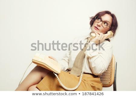 Belle rétro femme d'affaires vintage secrétaire bois Photo stock © lunamarina