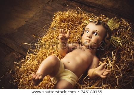 木製 · 赤ちゃん · イエス · キリスト · シーン · 木材 - ストックフォト © marimorena