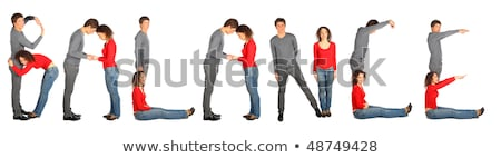 young man and woman making word BALANCE, collage Stock photo © Paha_L