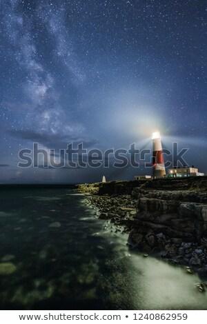 deniz · feneri · güneş · arkasında · ev · Bina · gün · batımı - stok fotoğraf © ollietaylorphotograp