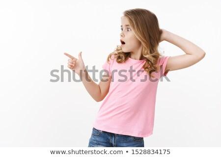 Kız sürpriz eller arka plan ağız kırmızı Stok fotoğraf © ddvs71