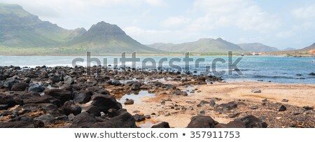 Black rock stone coast in front of rough windy sea with waves  Stock photo © attiarndt