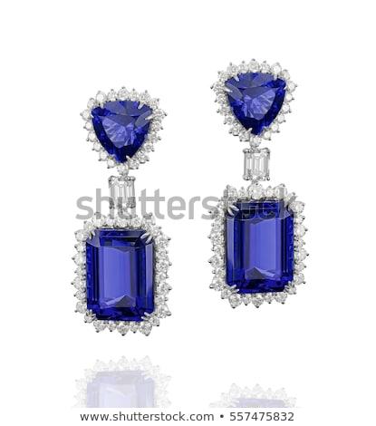 Zdjęcia stock: Blue Gemstone Sapphire Tanzanite Earrings With Diamonds