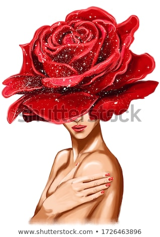 beautiful girl with red flower on head stock photo © svetography