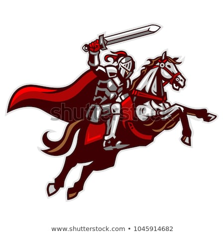ridder · paard · zwaard · schild · Maakt · een · reservekopie - stockfoto © jossdiim