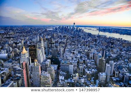 the new york city skyline w brooklyn bridge stock photo © hanusst