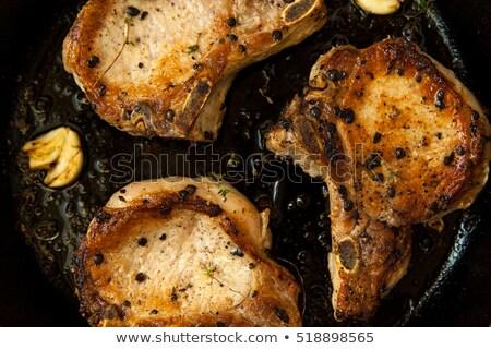 porc · grillés · frites · françaises · alimentaire · dîner · viande - photo stock © digifoodstock