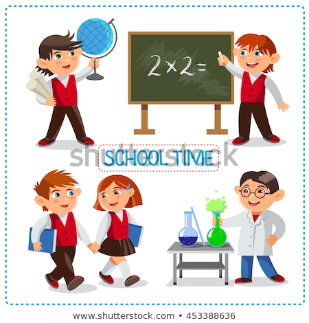 School time. Happy boys and girl. Cute schoolchild at a lesson of geography, chemistry, mathematics. Stock photo © natalya_zimina