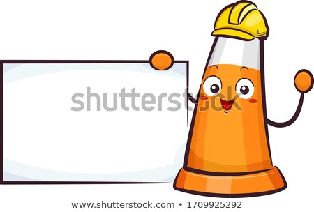 Traffic Cone Mascot Board Stock photo © lenm