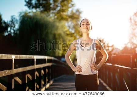 Gezond leven vruchten sport fitness mobiele vloer Stockfoto © racoolstudio