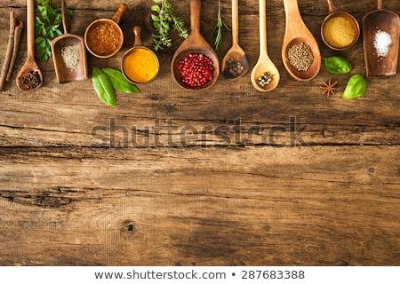 specerijen · kruiden · houten · kom · voedsel · blad - stockfoto © yelenayemchuk