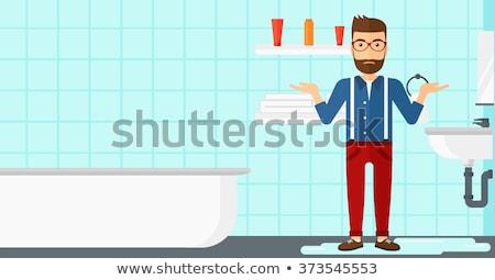férfi · kétségbeesés · áll · mosdókagyló · ázsiai · fürdőszoba - stock fotó © rastudio
