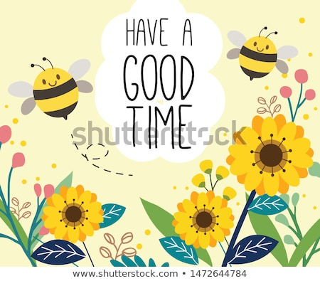 Stock photo: Spring & nature: Happy yellow flower with bee