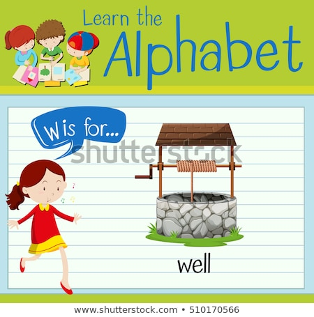 Flashcard letter W is for well Stock photo © bluering