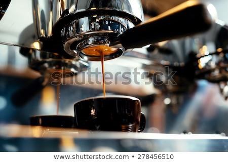 közelkép · eszpresszó · áramló · kávéfőző · profi · kávé - stock fotó © mady70