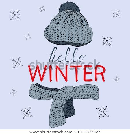 Gebreid winter kaart sneeuwvlok papier textuur Stockfoto © carodi