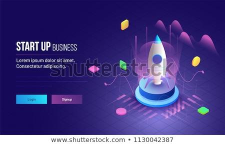 Foto stock: Vetor · startup · estilo · sinais · bandeira · novo