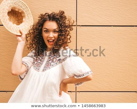 Sexy kobieta hat niebo kwiaty twarz śniegu Zdjęcia stock © konradbak
