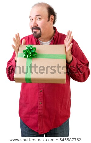 Generous balding man giving or receiving present Stock photo © ozgur