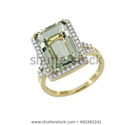 emerald gemstone isolated jewelry green stone on white backgrou stock photo © maryvalery