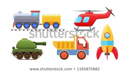 Tank oyuncak ikon vektör uzun gölge Stok fotoğraf © smoki