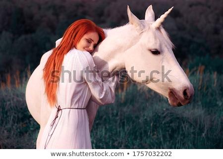 Fiatal gyönyörű nő ló gyönyörű természetes fiatal nő Stock fotó © hsfelix