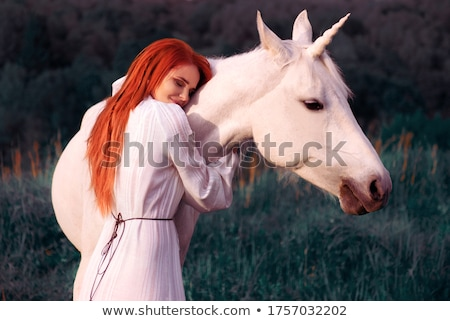 Jóvenes mujer hermosa caballo hermosa naturales Foto stock © hsfelix