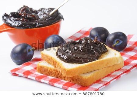 белый хлеб слива Jam Ломтики фрукты хлеб Сток-фото © Digifoodstock