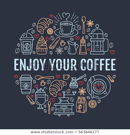 coffee shop poster template vector line illustration of coffeemaking equipment elements   espresso stock photo © nadiinko