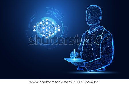 human heart treatment abstract blue background icons connected stock photo © tefi