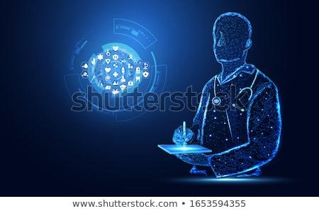人間 中心 治療 抽象的な 青 アイコン ストックフォト © Tefi