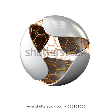 Abstract gray leaf with nano sphere logo. isolated on white, 3d Illustration Stock photo © tussik