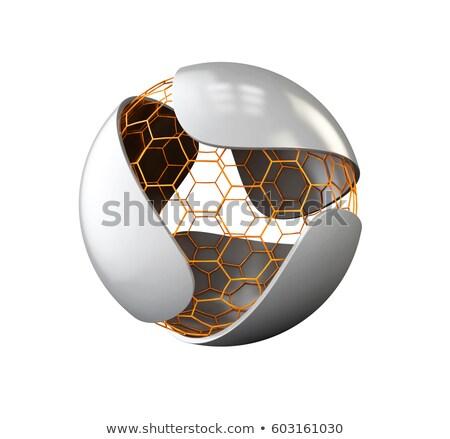 Absztrakt szürke levél nano gömb logo Stock fotó © tussik