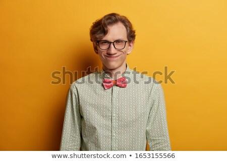 Erkek inek öğrenci gözlük yalıtılmış Stok fotoğraf © deandrobot