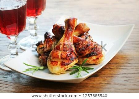 Gemarineerd kip benen witte keramische Stockfoto © Digifoodstock