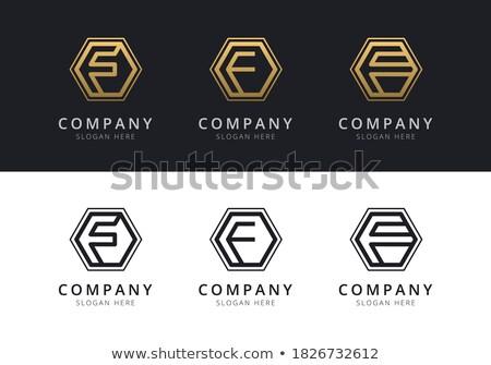 Letra f dentro colorido hexágono forma resumen Foto stock © user_11138126