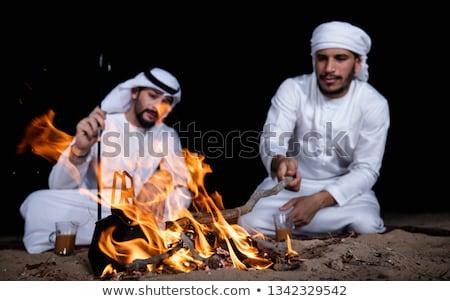 Kettő barátok ül körül máglya kempingezés Stock fotó © RAStudio