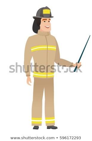 strażak · biały · kask · stoją · kurtka - zdjęcia stock © rastudio